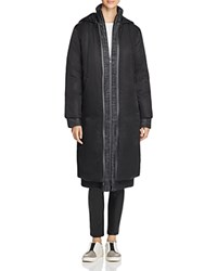 Dkny Pure Hooded Down Coat With Melange Warmer Black