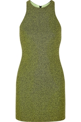 Alexander Wang Mesh Bonded Neoprene Mini Dress Chartreuse