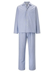 Derek Rose Stripe Brushed Cotton Pyjamas Blue White