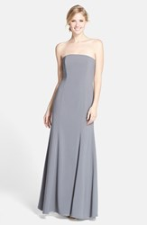 Women's Dessy Collection Strapless Crepe Trumpet Gown Charcoal Grey