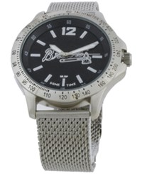 Game Time Atlanta Braves Cage Series Watch Silver Black