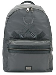 Dolce And Gabbana 'Vulcano' Western Patch Backpack Grey