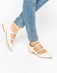 New Look Multi Buckle Pointed Shoe Cream