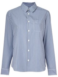 A.P.C. Pinstriped Button Down Shirt Blue