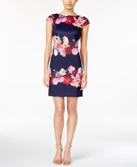 Vince Camuto Floral Striped Cap Sleeve Shift Dress Navy
