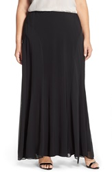 Alex Evenings Chiffon Inset Maxi Skirt Plus Size Black