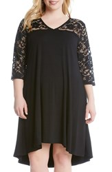 Karen Kane Plus Size Women's Lace Yoke Swing Dress Black