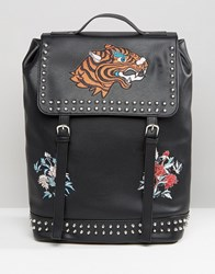 Asos Backpack In Faux Leather With Embroidery Black