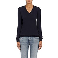 Barneys New York Women's Cashmere V Neck Sweater Navy