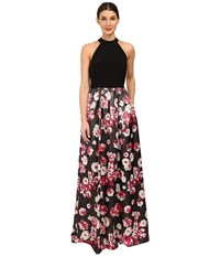 Adrianna Papell Jersey Halter Bodice And Jacquard Skirt Black Multi Women's Dress