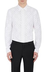 Burberry Xo Barneys New York Lace Snap Front Shirt White