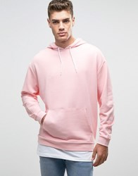 Asos Oversized Hoodie In Pink With T Shirt Hem Strawberry Cream