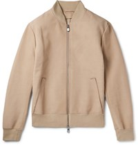 Berluti Nubuck Leather Bomber Jacket Beige