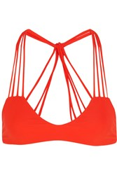Mikoh Banyans Cutout Bikini Top Bright Orange