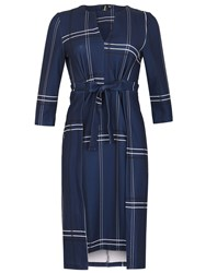Izabel London Checked Bow Front Dress Navy