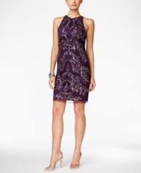 Adrianna Papell Sequin Halter Dress Amethyst