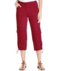 Styleandco. Style And Co. Petite Cargo Capri Pants New Red Amore
