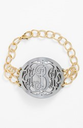 Women's Moon And Lola 'Annabel' Large Oval Personalized Monogram Bracelet Gunmetal Gold Nordstrom Exclusive