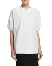 The Row Alley Puff Sleeve Cotton Round Neck Top White Size 14