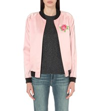 Opening Ceremony Embroidered Silk Bomber Jacket Pink Multi