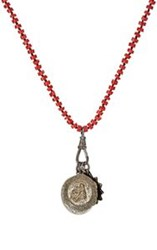 Miracle Icons Coral Rondelle And Triple Pendant Necklace Red