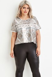 Forever 21 Plus Size Geo Patterned Sequin Top Cream Silver