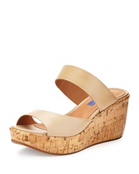 Dee Keller Shannon Leather And Cork Slide Wedge Nude