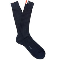 Thom Browne Ribbed Cotton Socks Navy