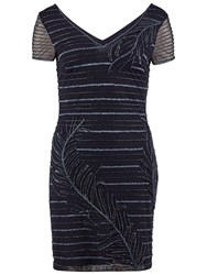 Gina Bacconi Beaded Mesh Cocktail Dress Navy