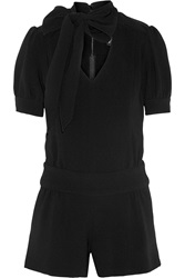 Haney Lizzie Pussy Bow Crepe Playsuit