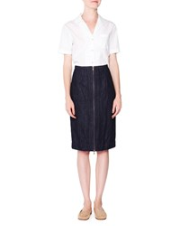 Tomas Maier Front Zip Denim Pencil Skirt Dark Navy