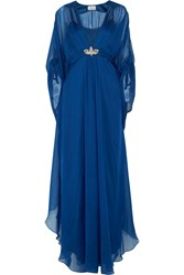 Temperley London Embellished Silk Chiffon Gown Blue