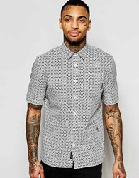 Religion Short Sleeve Shirt With All Over Mini Floral Print White