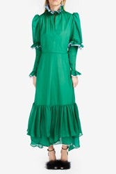 Natasha Zinko Chiffon Tiered Dress Green