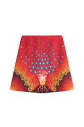 Valentino Volcano Mini Skirt With Virgin Wool And Silk Red