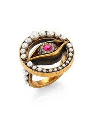 Alexander Mcqueen Jewelled Faux Pearl Eye Ring Antique Gold Red