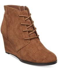 American Rag Baylie Lace Up Wedge Booties Only At Macy's Women's Shoes Chesnut