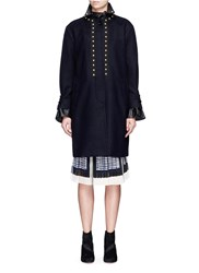 Sacai Leather Collar Stud Wool Melton Coat Blue