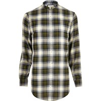 River Island Mens Green Checked Longline Shirt