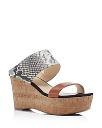 Marc Fisher Shelbee Snake Embossed Slide Wedge Sandals Compare At 89 Multi