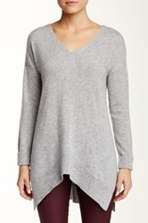 Sofia Cashmere Double V Neck Cashmere Sweater Gray