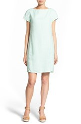 Women's Eileen Fisher Bateau Neck Organic Linen Shift Dress Green Mint