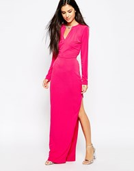 Lashes Of London Maxi Dress With Necklace Detail Pink
