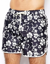 Selected Floral Swim Shorts Navy