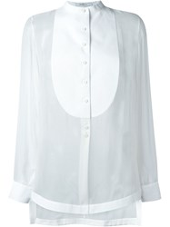 Givenchy Bib Detail Sheer Blouse White