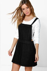 Boohoo Emily Denim Pinafore Dress Black