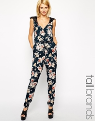 Girls On Film Tall Red Floral Print Jumpsuit With Lace Detail Multi