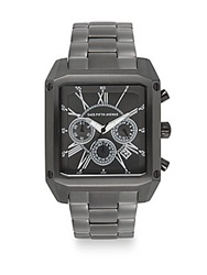 Saks Fifth Avenue Stainless Steel Chronograph Square Dial Watch Black