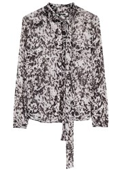 Mcq By Alexander Mcqueen Graphic Printed Silk Chiffon Blouse Black And White