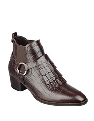 Marc Fisher Rayna Fringe Accented Leather Ankle Boots Brown